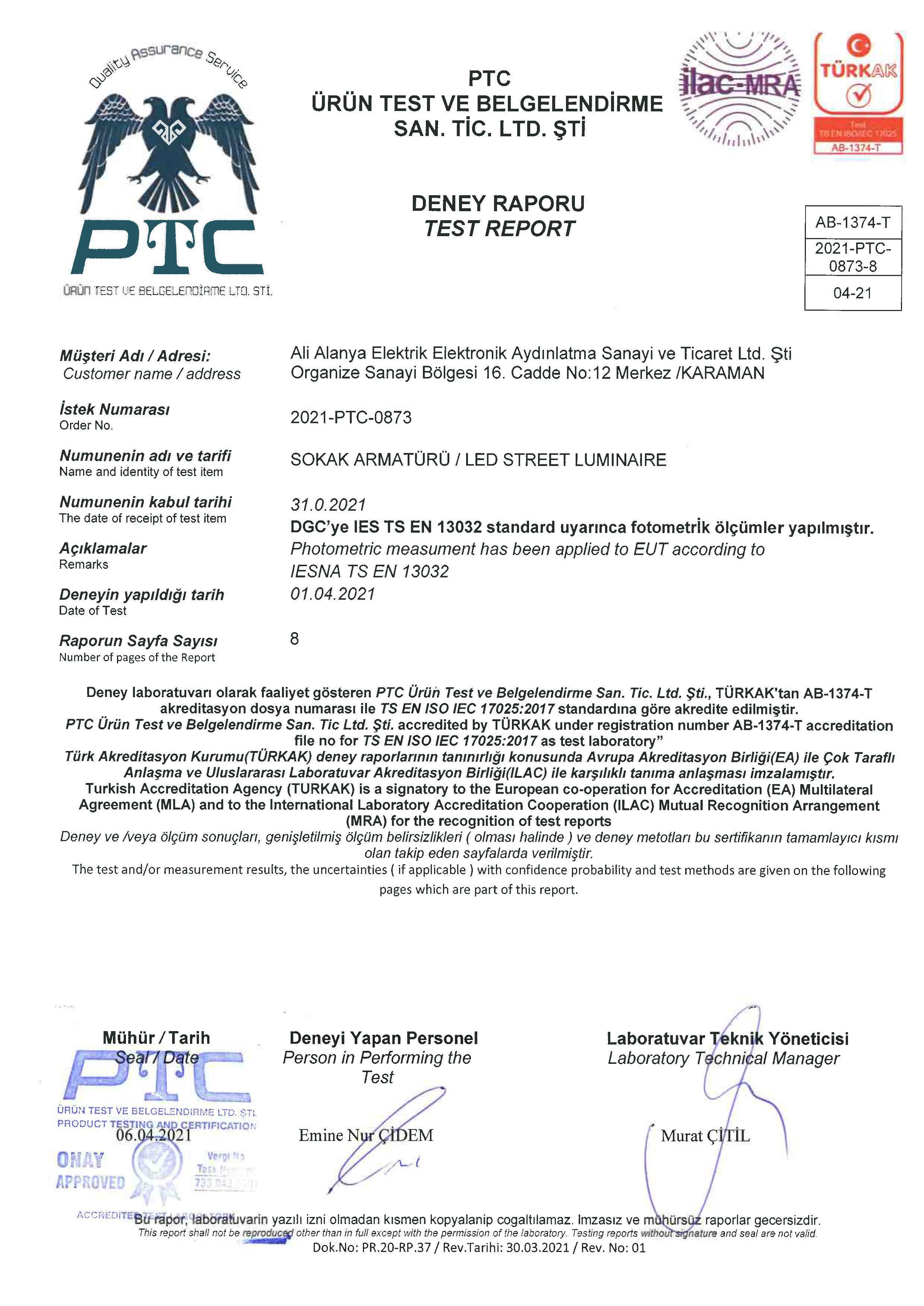SMARTSTREET TS EN 13032 TEST