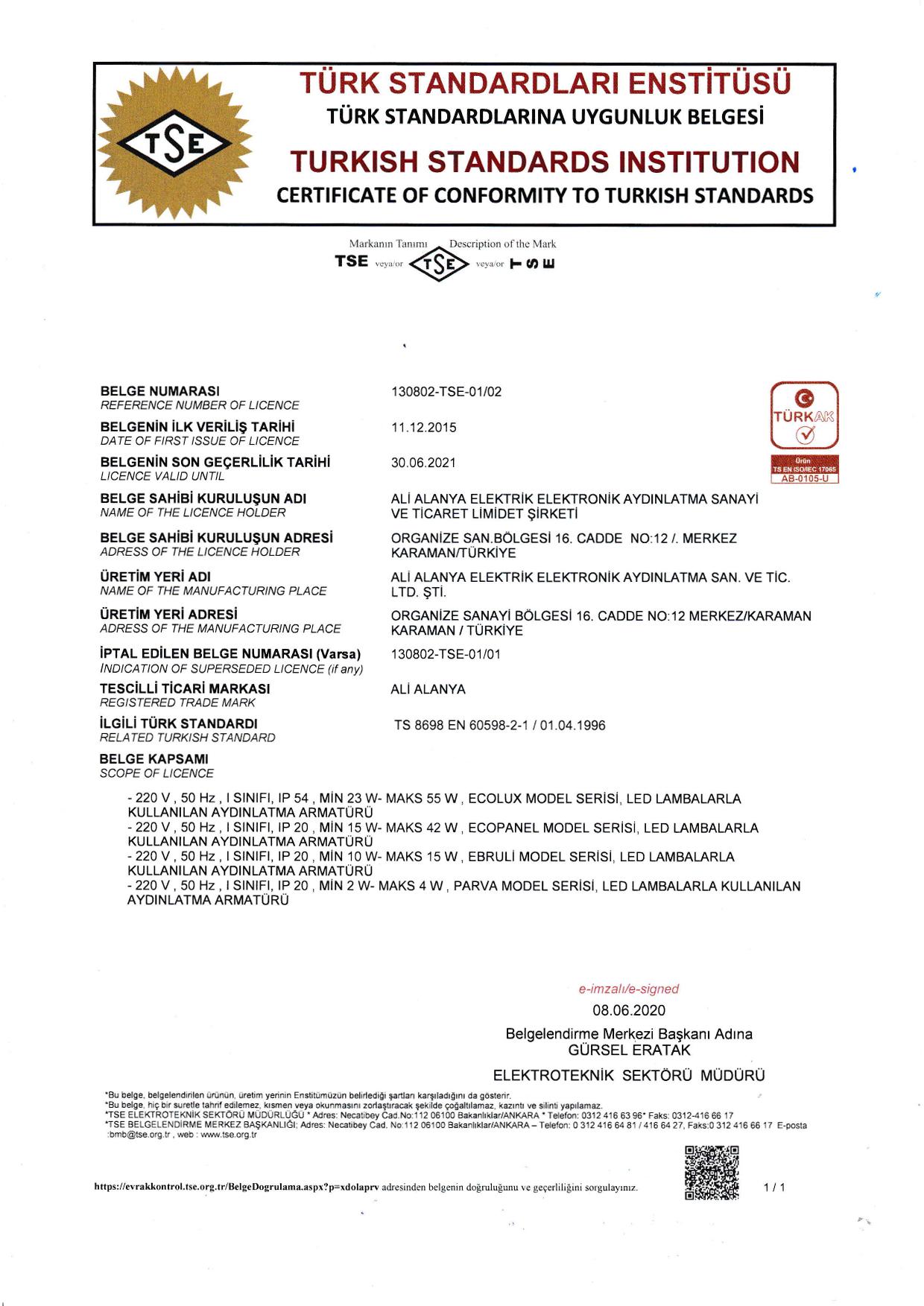 TSE 60598 ENDÜSTRİYEL PANEL SPOT